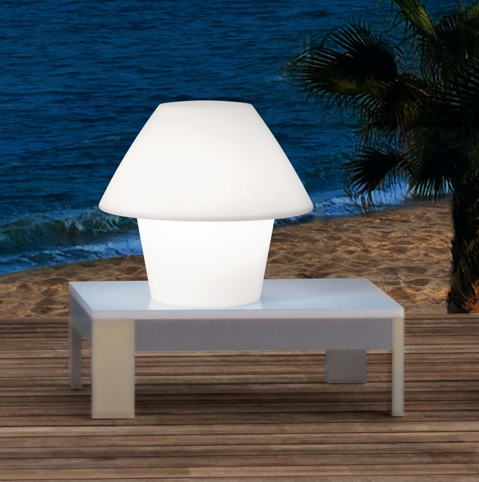 Lampe A Poser Versus Blanc O50cm Faro Eclairage De Jardin Luminaire Eclairage Exterieur