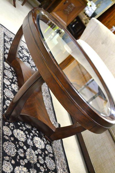 Contemporary Yet Classic Mahogany Finish Oval Coffee Table With