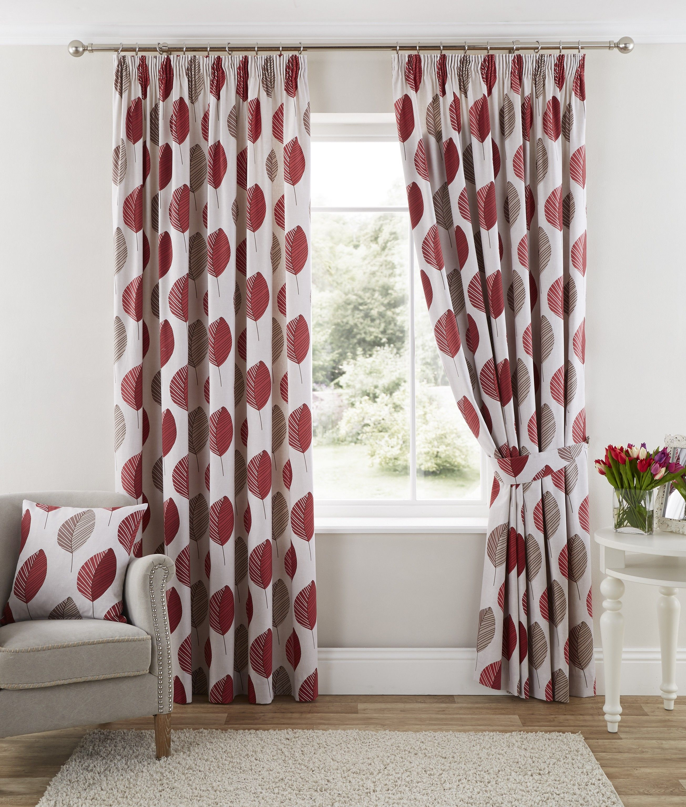 Arcadia Pencil Pleat Curtains Red | Ponden Homes