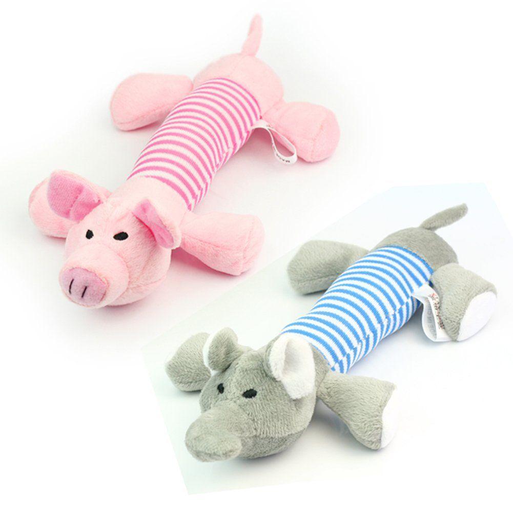 2 Dog Pet Puppy Chew Squeaker Squeaky Plush Sound Fun Pig Toys