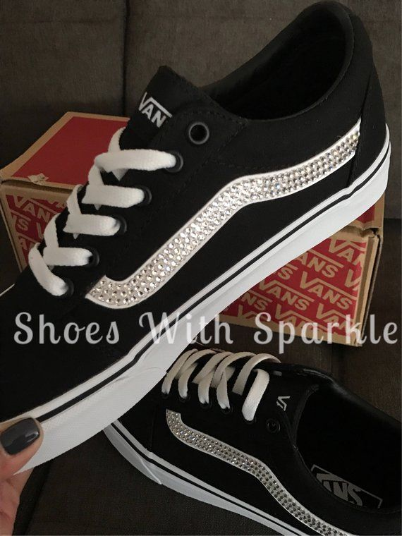 deb9d44d9fb09 Vans ® skater shoes Black/White Custom Bling with Swarovski ...
