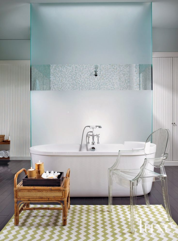 The showpiece of this bathroom is a freestanding tub from Stark ...