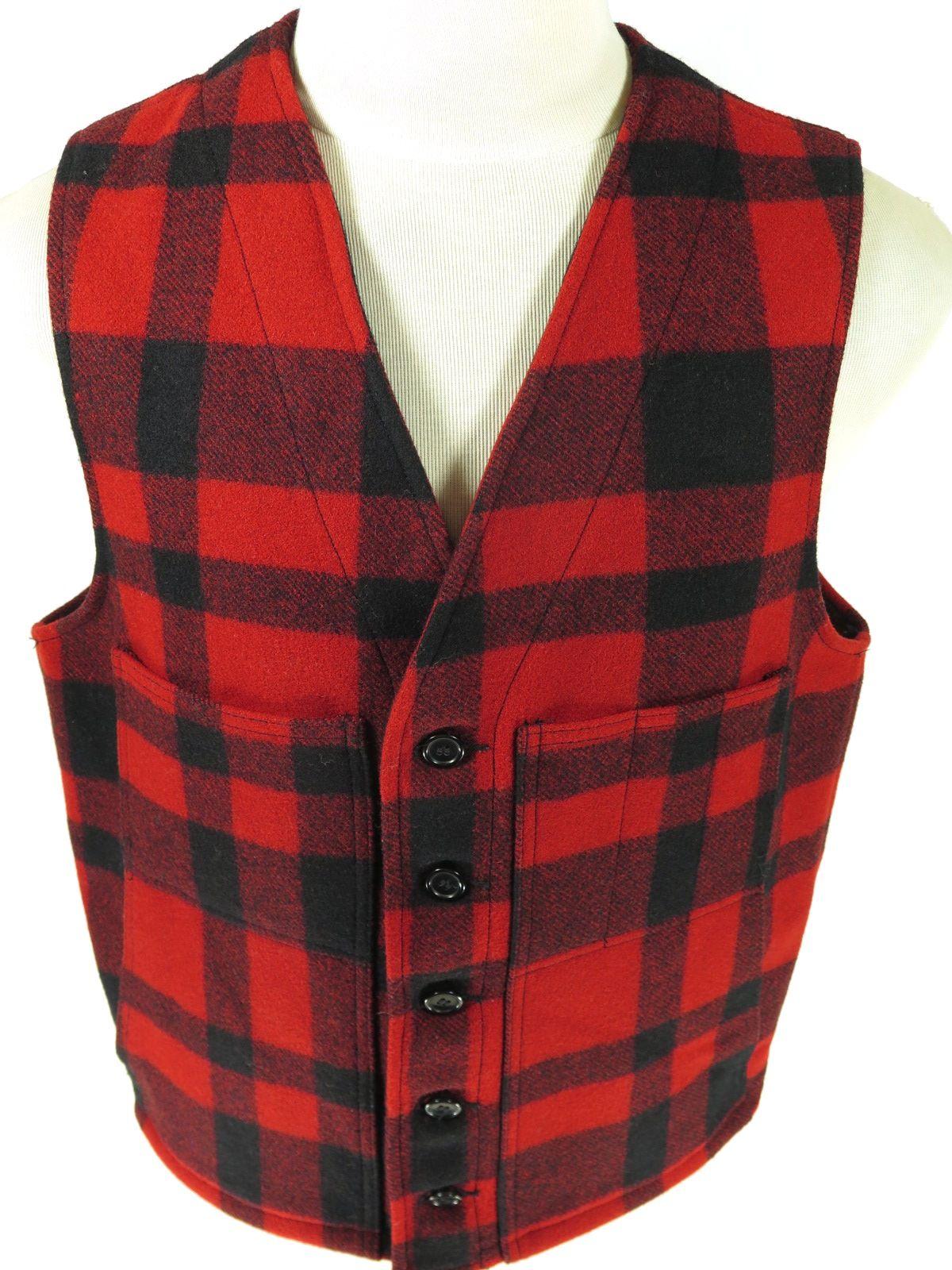 Vintage Unisex Red Plaid Button Up Vest