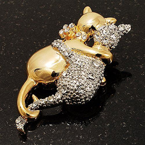 Amazon.com: Two Sitting Crystal Cats Brooch (Silver & Gold Tone): Clothing