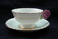 PARAGON - FLOWER HANDLE - GREEN  WHITE - CUP  SAUCER - ABSOLUTELY BEAUTIFUL!