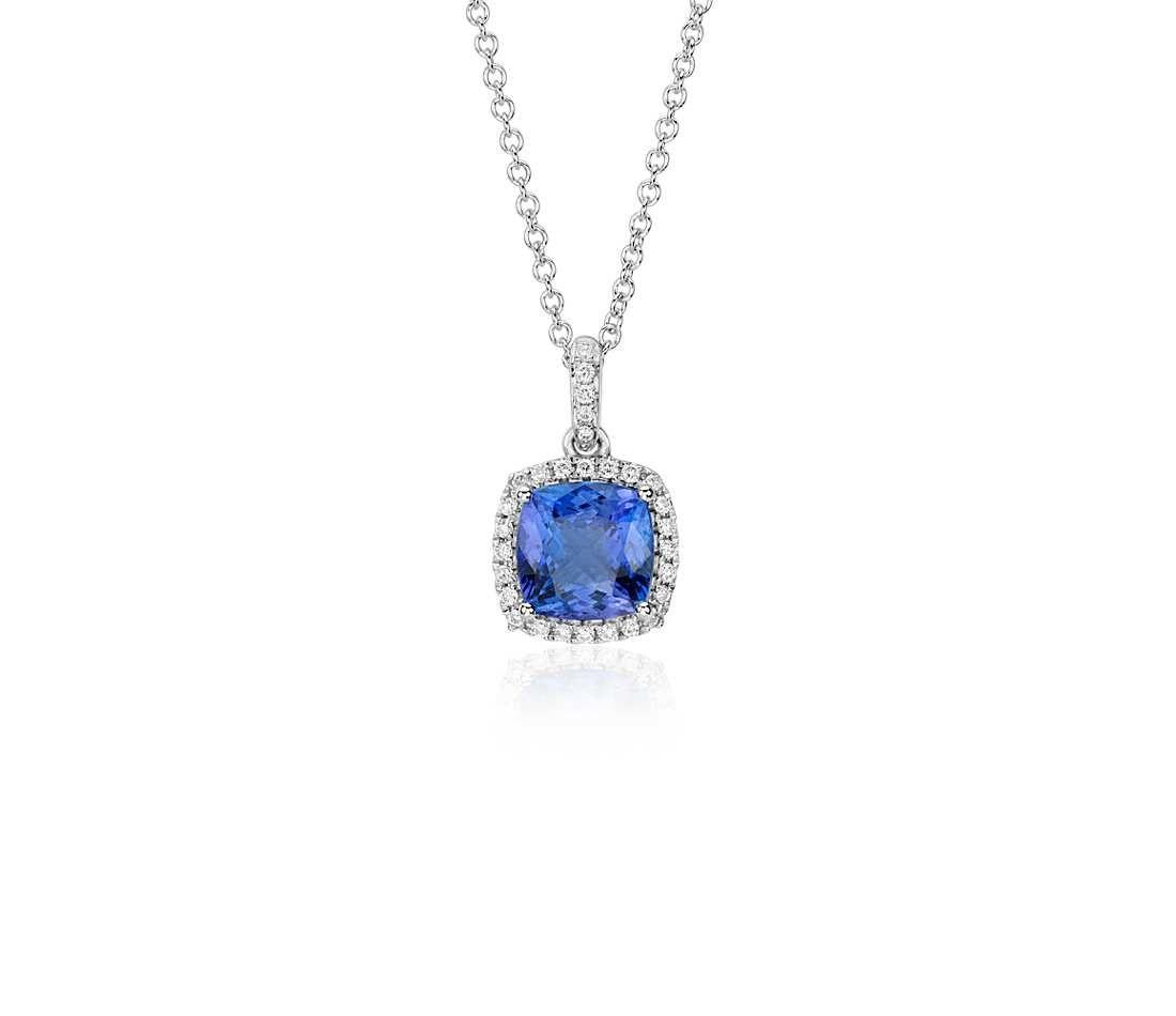Tanzanite cushion and diamond halo pendant in 14k white gold tanzanite cushion and diamond halo pendant in 14k white gold 7x7mm aloadofball Gallery