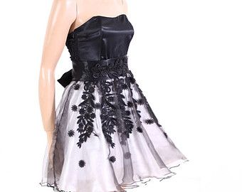Little Black and White/ Lace organza/  PARTY /cocktail / bridesmaid /prom / evening  dress
