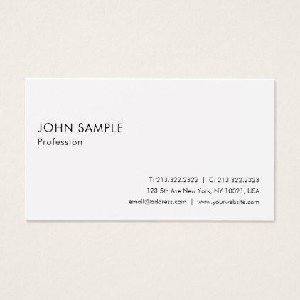 Smart Plain Modern Elegant White Professional Business Card