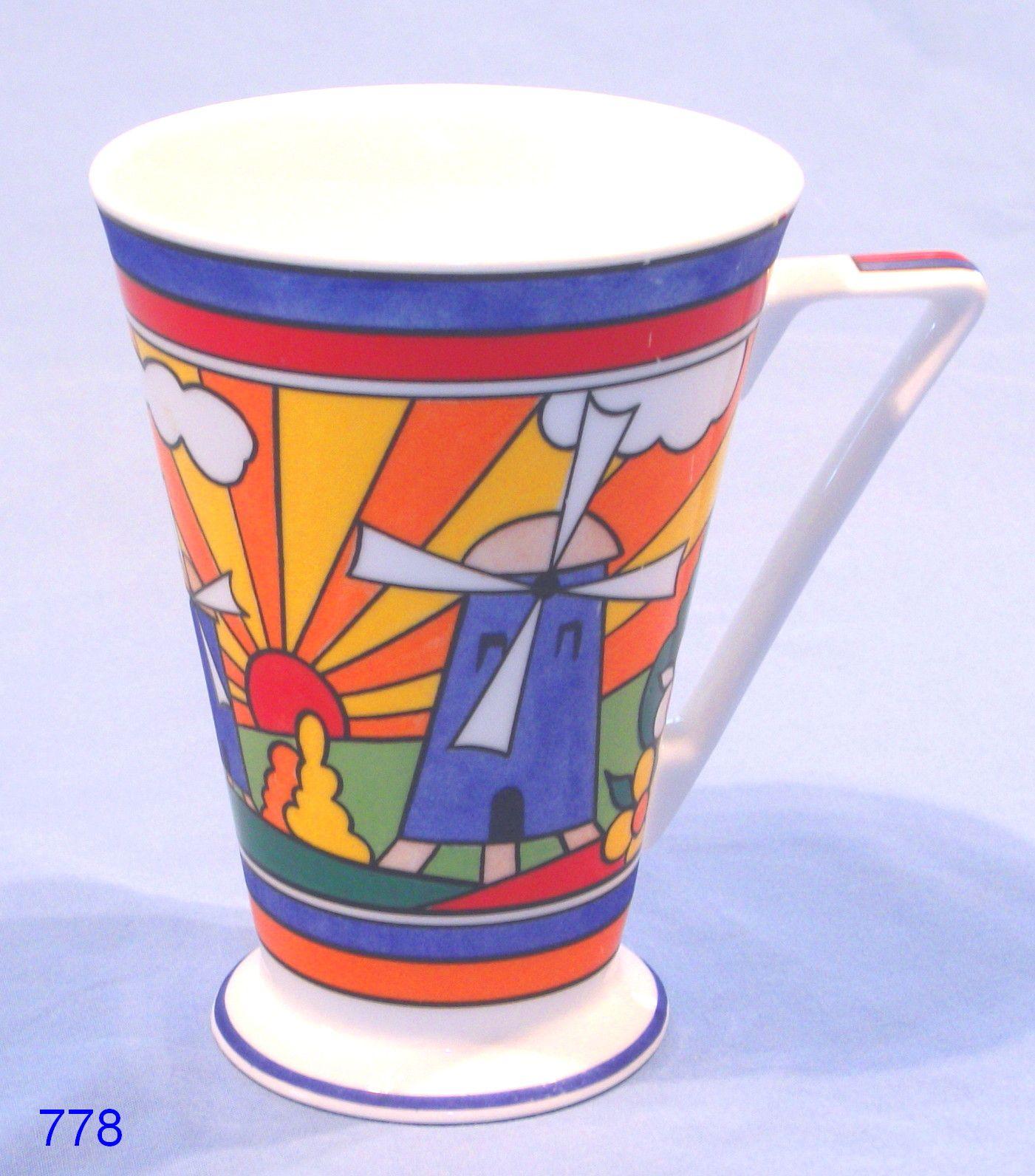 Art Deco Clarice Cliff Style Sunburst Mug By Wren Clarice Cliff Pottery Art Art Deco