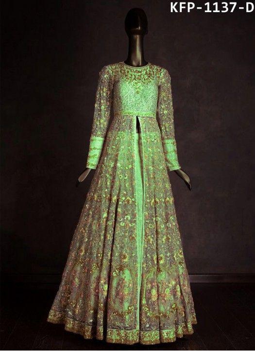 Buy Nylon Mono Net Green Bollywood Replica Gown | Gown | Pinterest ...