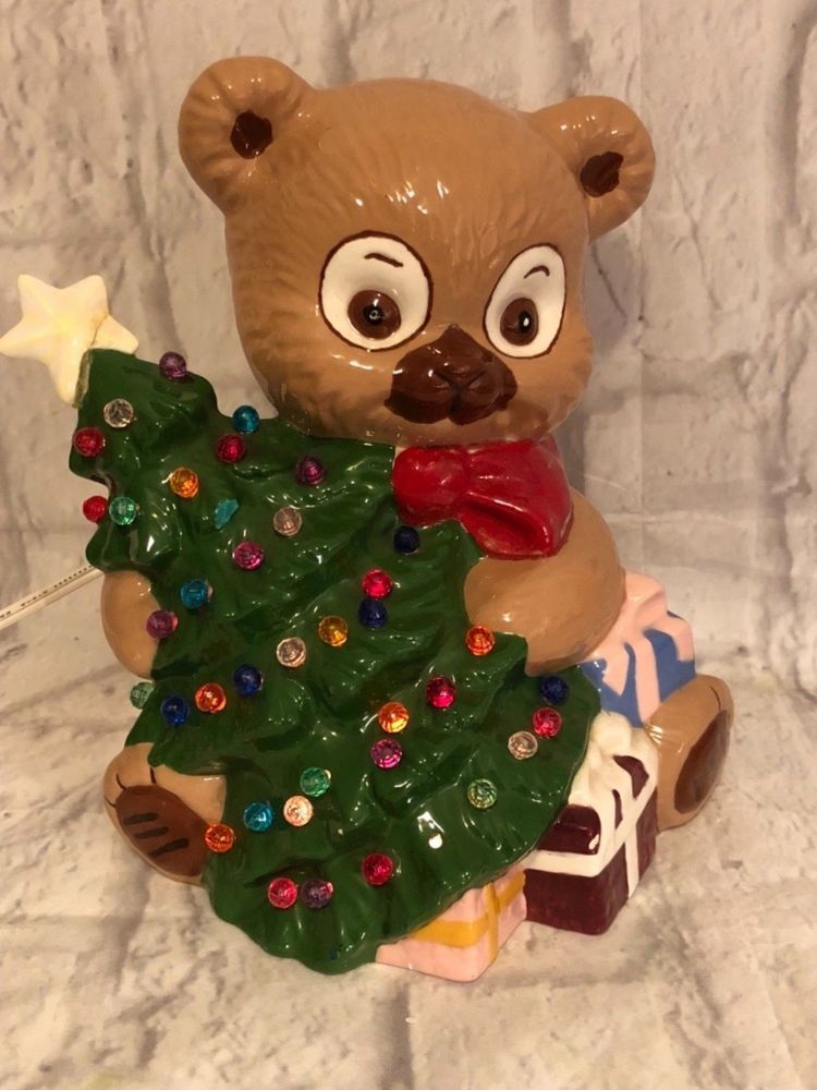 794abc8618 1984 Ceramic Teddy Bear Holding Christmas Tree Electric Lamp Collectible.