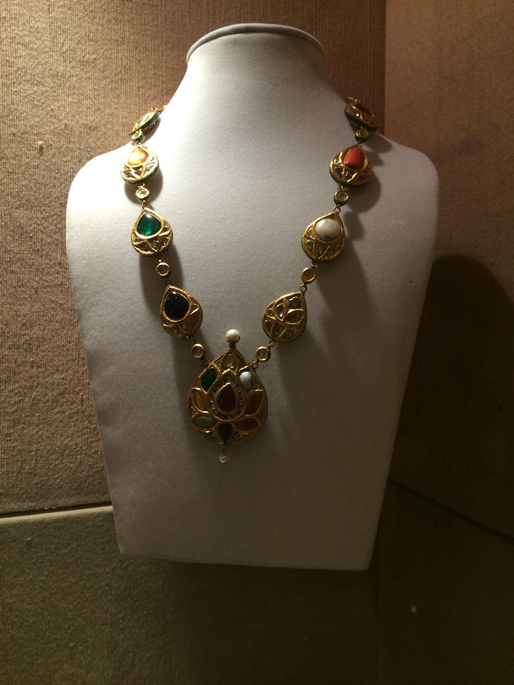 Navratna necklace india jewelry pinterest