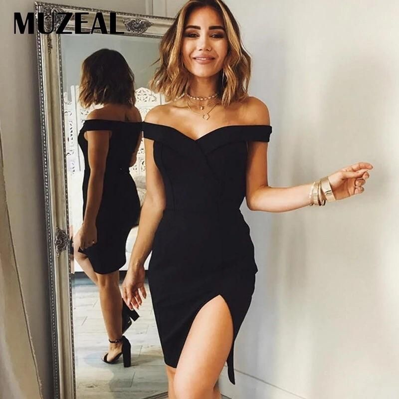 7cc9efbf76693 Slash Neck Short Sleeve Slit Dress Sexy Off Shoulder Black Solid ...