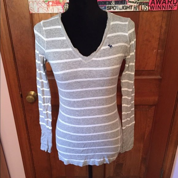 Gray and white striped long sleeve A&F shirt X-large. Runs on the small side. Abercrombie & Fitch Tops Tees - Long Sleeve