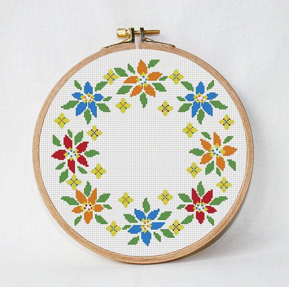 Round flowers cross stitch pattern modern pillow pattern circlet of ...