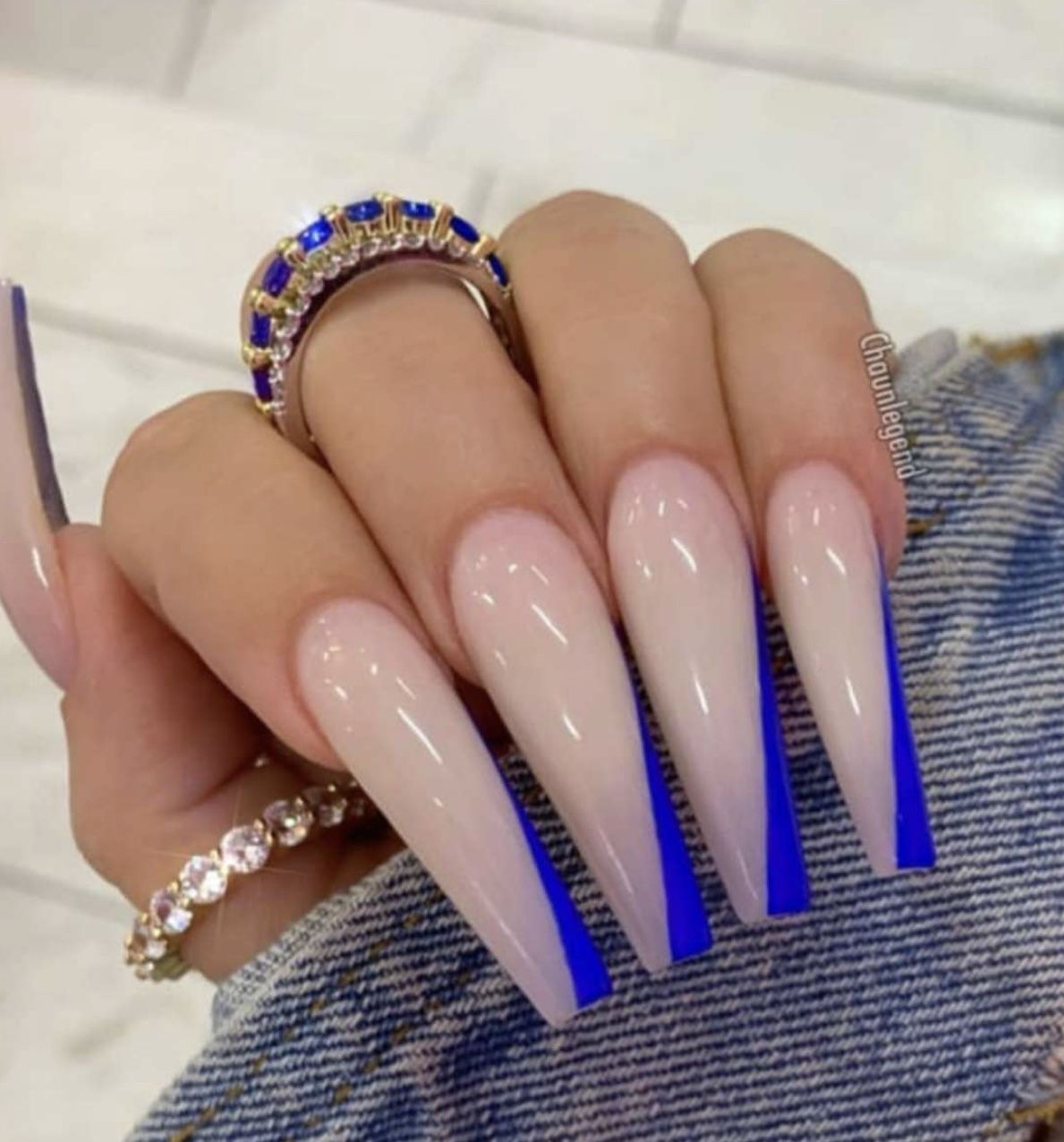 Pin By Beauty On Nails In 2020 Blue Ombre Nails Blue Acrylic Nails Long Acrylic Nails