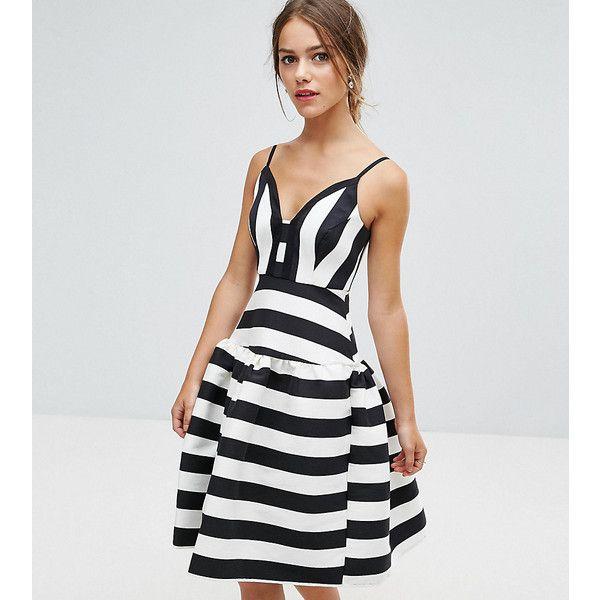ASOS PETITE Curved Stripe Trumpet Hem Midi Prom Dress ($30) ❤ liked ...