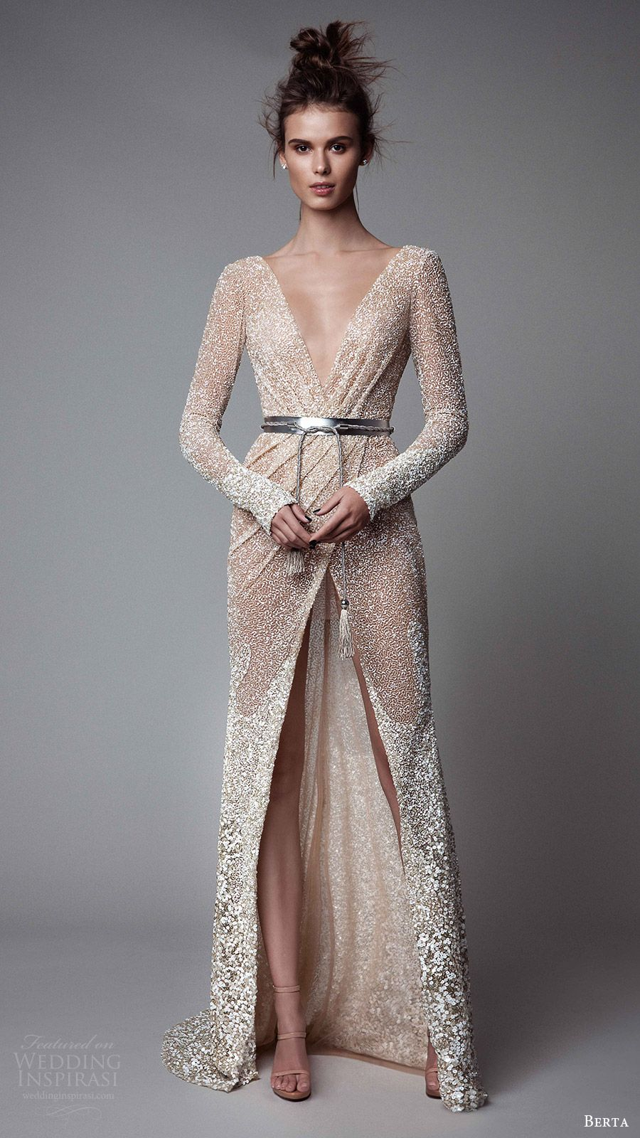 Berta rtw fall long sleeves deep v neck sheath evening