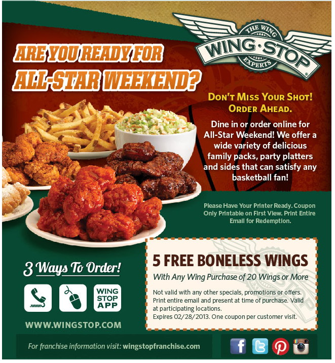 graphic regarding Red Wing Coupon Printable titled 5 wings absolutely free with your 20laptop at Wingstop coupon by The