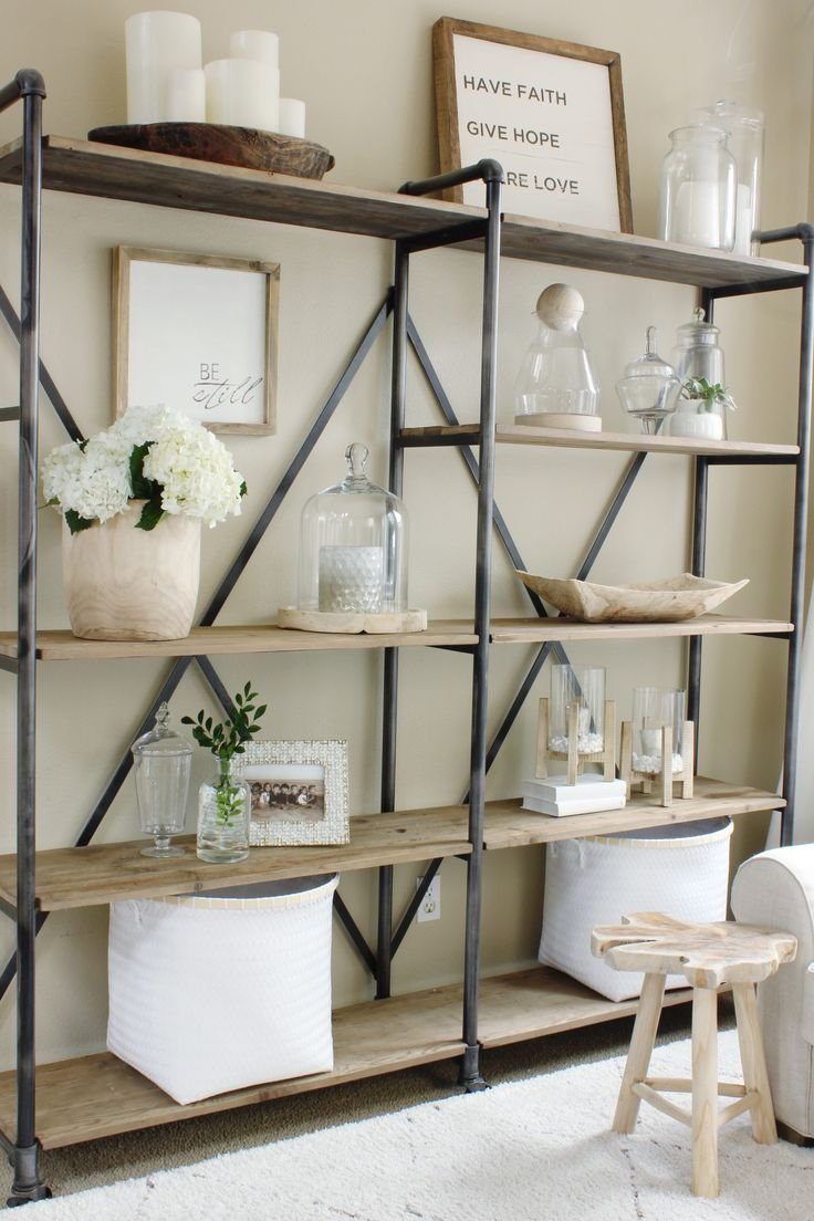 19 Farmhouse Style Bookshelf Ideas Glorifying Your Space in Picturesque Ways! - Quirky home decor, Home office decor, Farm house living room, Bookshelf decor, Home decor, Apartment decor - Practical and beautiful, these farmhouse style bookshelf ideas come with a decorative vibe glorifying just about any room