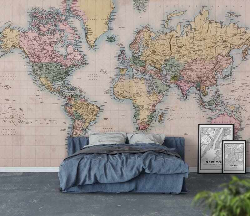 Vintage world map wall mural from happywall stephen carl murphy silver grey world map feature wall wallpaper mural cm x cm gumiabroncs Image collections