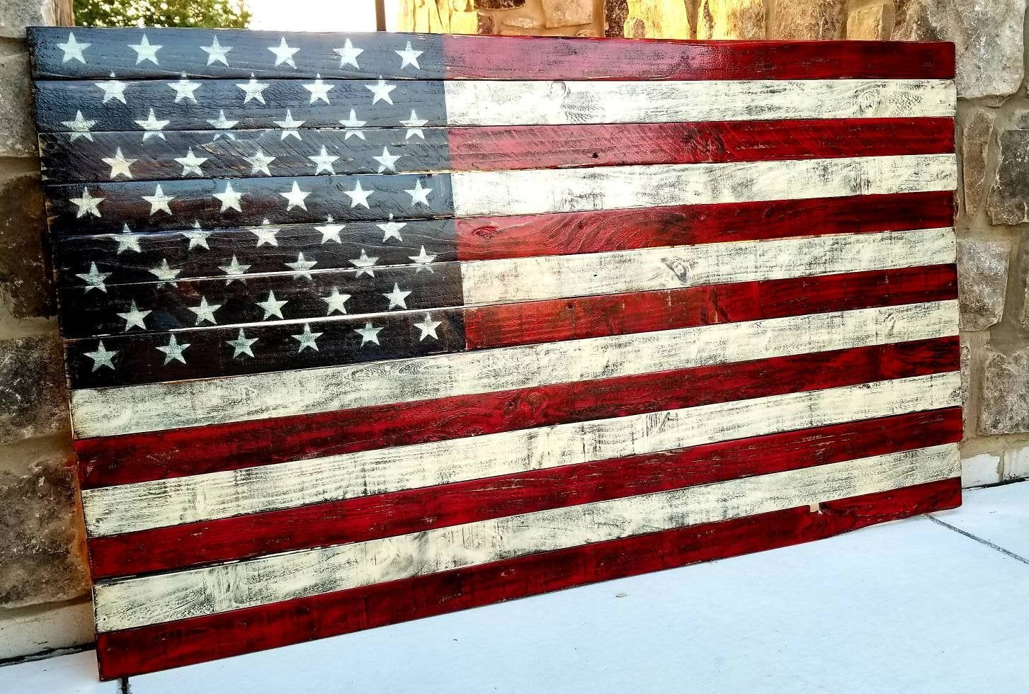 Rustic Wooden American Flag Rustic Flag Pallet Flag American Flag Wall Art Distressed Americ American Flag Wall Art American Flag Wood American Flag Pallet