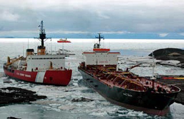 Tanker Paul Buck, USCG Polar Sea, RV Nathaniel Palmer, McMurdo Station, Antartica