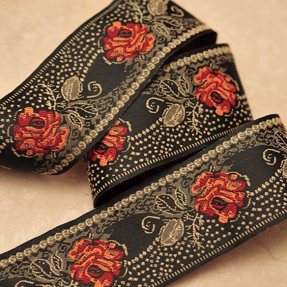 Jacquard Ribbon Trim Rose Dotted Victorian Orange- 2.8 yards