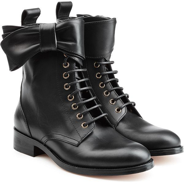 R.E.D Valentino Leather Lace-Up Ankle Boots (€650) ❤ liked on Polyvore featuring shoes, boots, ankle booties, black, low heel ankle boots, chunky black booties, laced up ankle boots, lace up booties and black boots