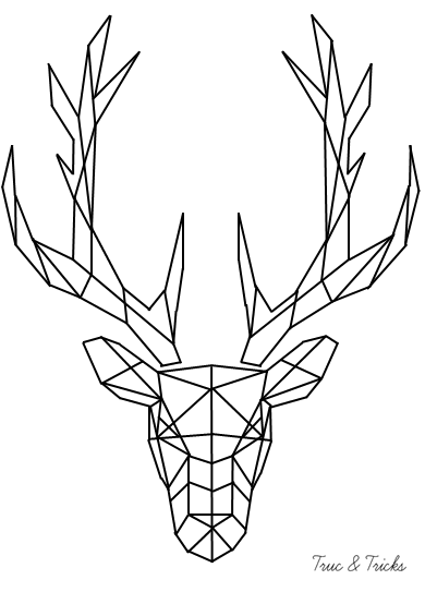 Geometric Angular Minimalist Deer Buck With Antlers Black