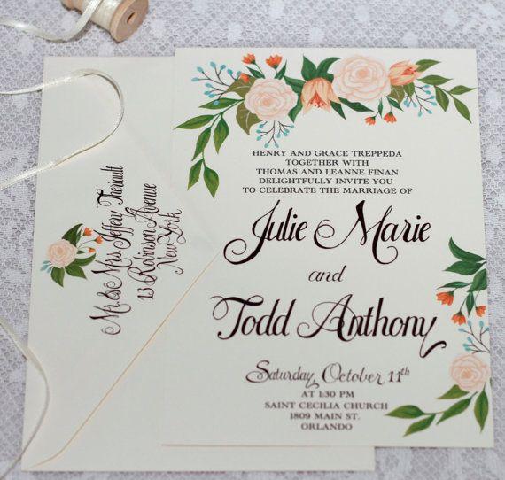 Hand Painted Peach Blossom Wedding Invitation Por Beholddesignz