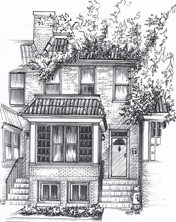 House Illustration Custom Black Ink Architectural Drawing House
