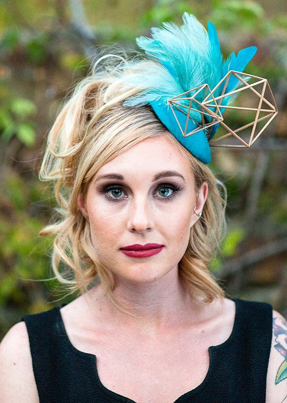 Geometric fascinator teal feather headpiece by DarlingMarcelleShop ... cff429ad1f2