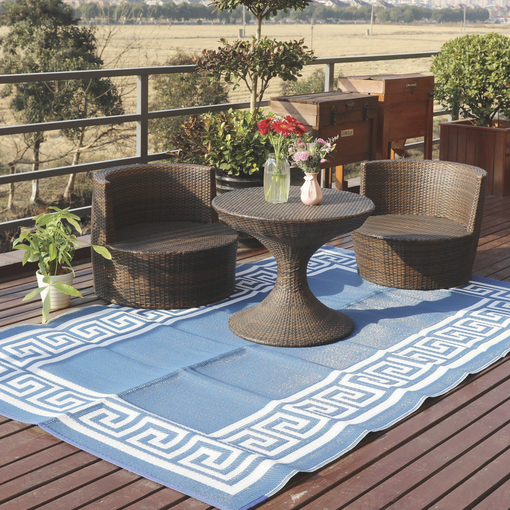 Outdoor Reversible Patio Rv Mat Blue White With Images Patio