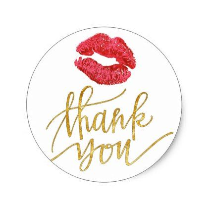 Red Lipstick Kiss Thank You Classic Round Sticker Lip Gifts
