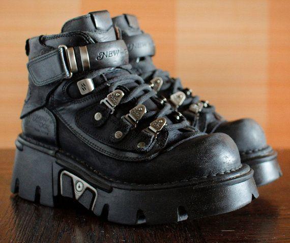 4072ad14285 New Rock black platform shoes GOTH moto by VintagePlatformDeal