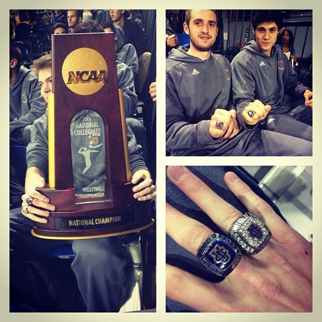 Uci Men S Volleyball 2011 12 2012 13 Championship Rings With 2012 12 Championship Trophy Mens Volleyball Volleyball Men