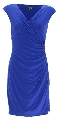 Women's Cap Sleeve Surplice Ruched Matte Jersey Dress, Petite Size 10P, Blue  Lauren by