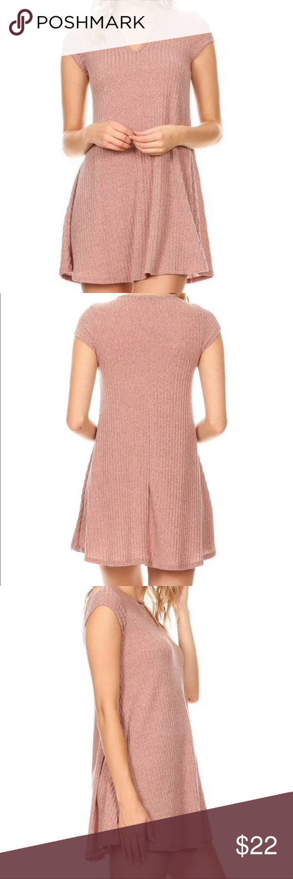 """571c22583225 Sweetkie Swing Dress Vibe Sweetkie Ribbed Keyhole Swing Mini Dress.  Polyester/Rayon/Spandex Blend. Approximately 30"""" Long. Brand New, With Tag. Vibe  Dresses ..."""