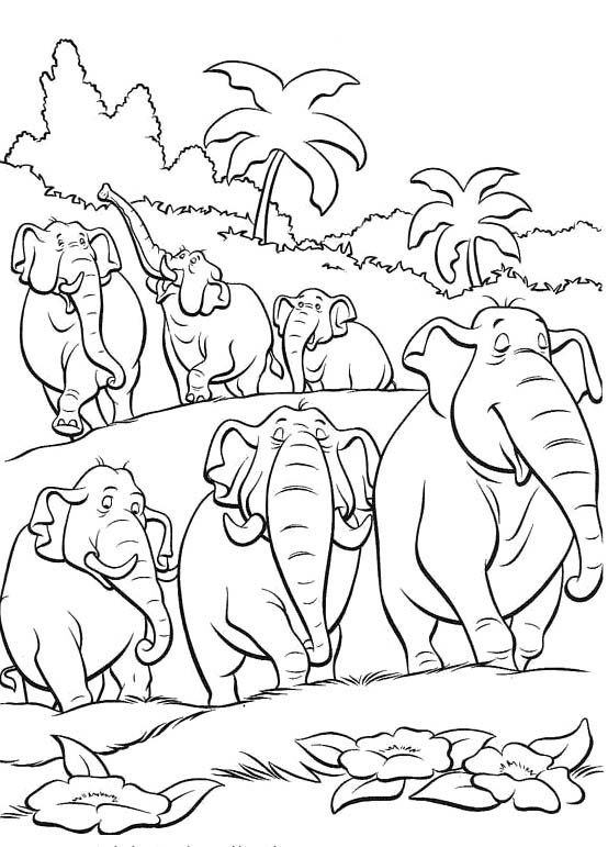The Herd Of Elephants Jungle Book Coloring Pages Jungle Book Coloring Pages Disney Coloring Pages Printables Cartoon Coloring Pages Elephant Coloring Page