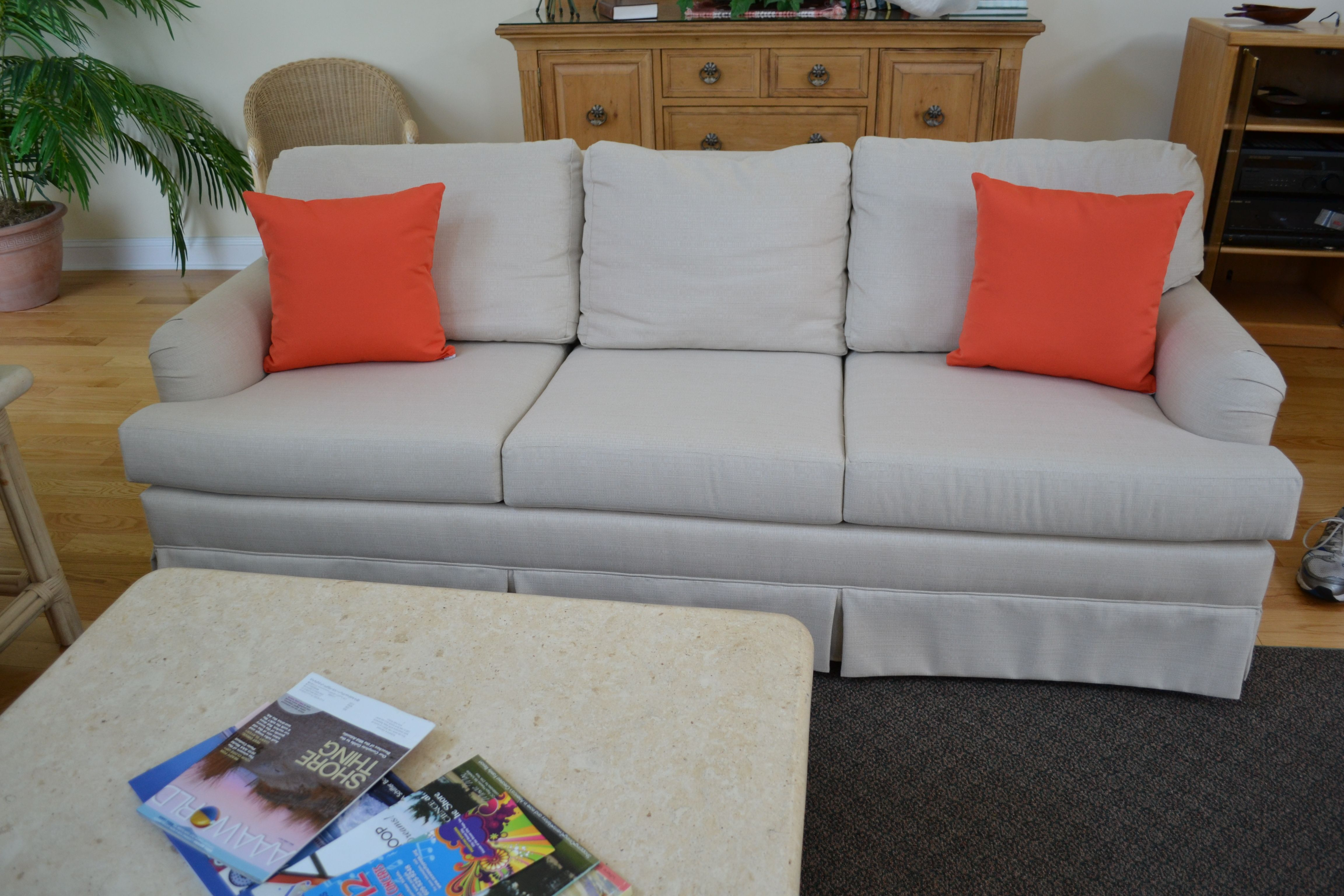 This Three Cushion Sofa Was Reupholstered In Sunbrella Linen Antique Beige The Pillows Are Sunbrella Canv Cushions On Sofa Sofa Cushion Covers Cushion Covers