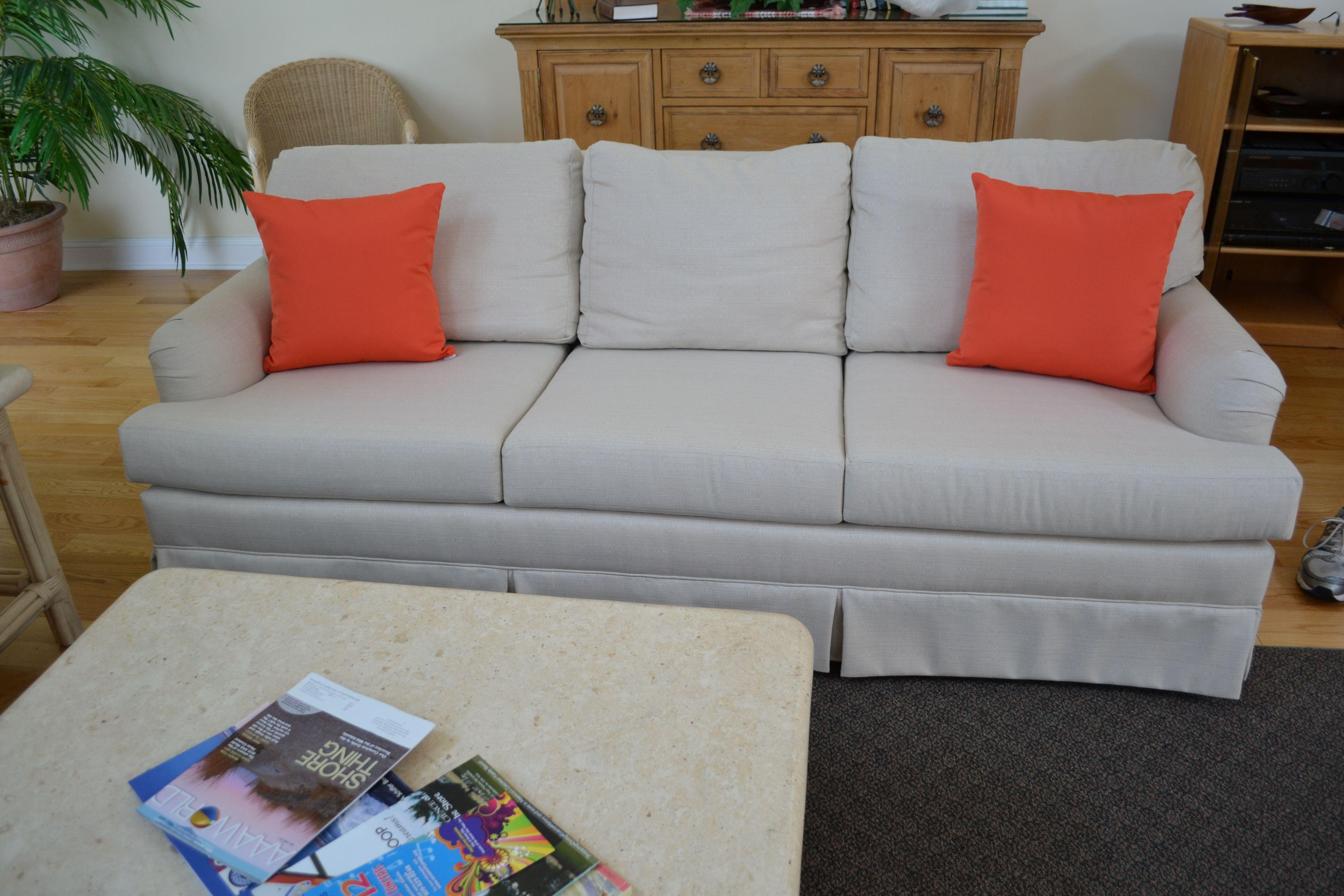 This three cushion sofa was reupholstered in Sunbrella Linen