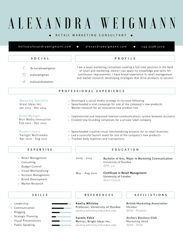 formal retail marketing consultant resume canva design