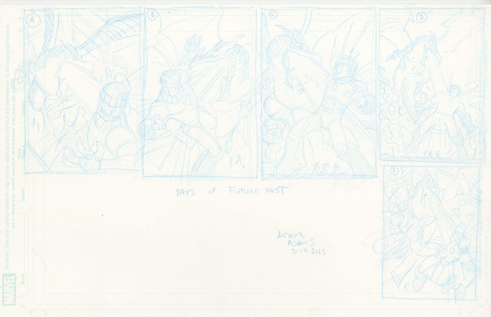 layout designs for X-Men: Days of Future Past by Arthur Adams