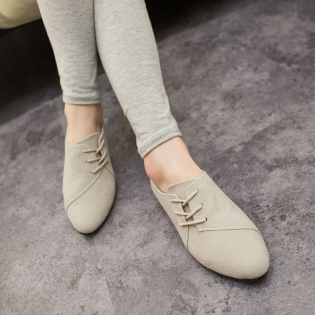 2015 Hot Selling Spring Casual Women Shoes Women Nubuck Leather lace-Up Flat  Shoes Handsome Head Toe Shoes 375 e33663b5446b