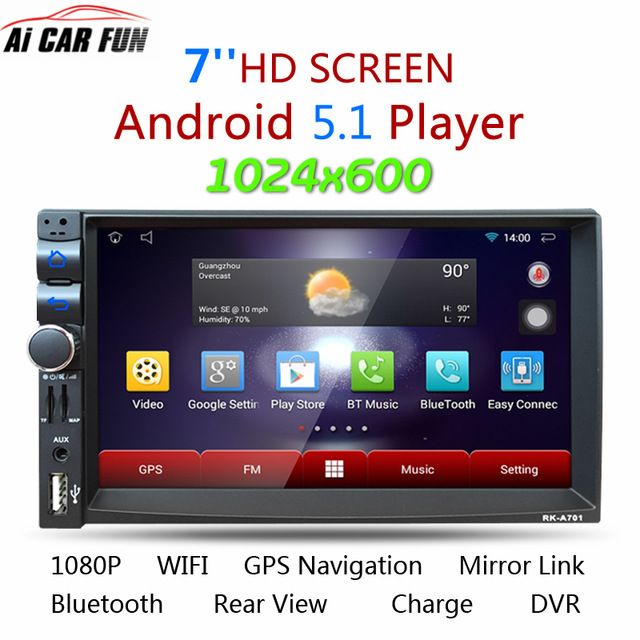 7/'/' 2 DIN Android GPS Navigation MP5 Player Stereo Audio  Bluetooth Touch Screen