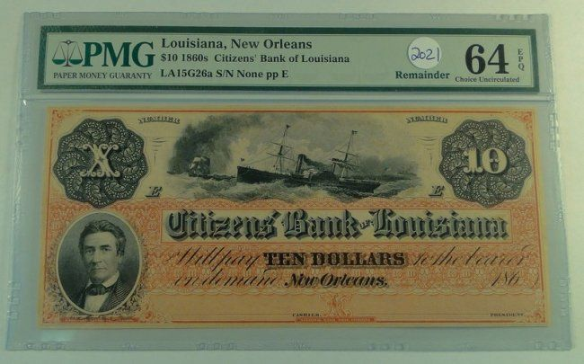 Us Bill Obsolete Dix Note 1860 S 10 Louisiana New Orleans
