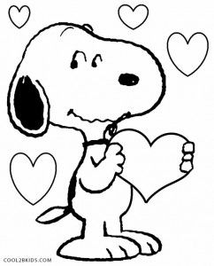 snoopy valentines coloring pages