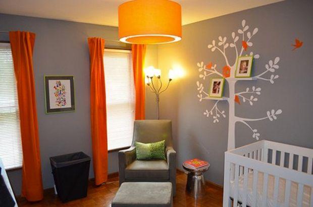 couleur-chambre-enfant-gris-orange | Touches de rose, Décoration ...