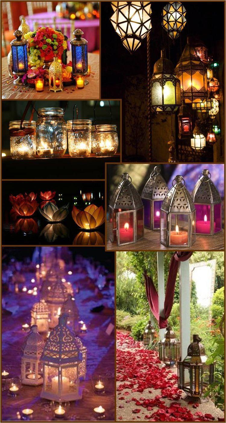 Lanterns Centrepiece Glow Candles Burningcandles Floatingcandles Indische Deko Dekoration Boheme Einrichtung